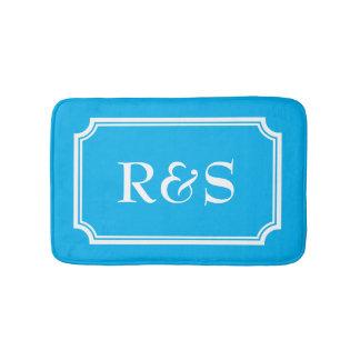 Elegant blue and white monogram bath mat rug bath mats