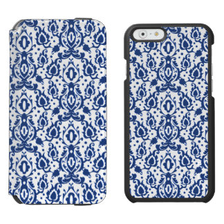 Elegant Blue and White Moroccan Style Damask iPhone 6/6s Wallet Case