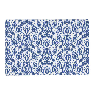 Elegant Blue and White Moroccan Style Damask Placemat