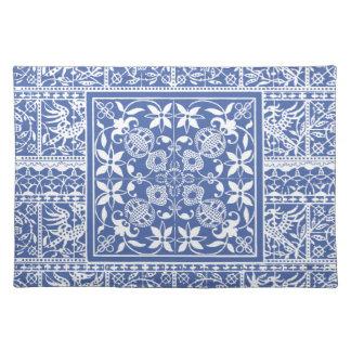 Elegant Blue and White Renaissance Lace Cloth Placemat