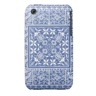 Elegant Blue and White Renaissance Pattern Case-Mate iPhone 3 Cases