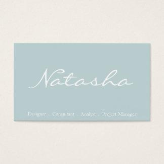 Elegant Blue and White Script Font Business Card