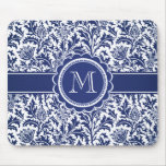 Elegant Blue and White William Morris Floral Mouse Pad
