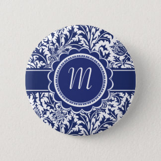Elegant Blue and White William Morris Floral Pinback Button