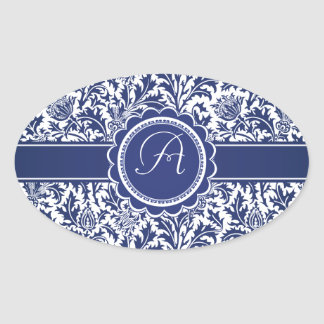 Elegant Blue and White William Morris Floral Stickers
