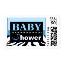 Elegant Blue and Zebra Baby Shower Postage