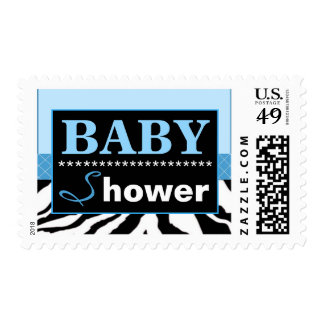 Elegant Blue and Zebra Baby Shower Postage Stamp