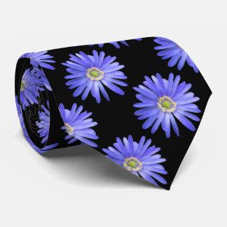 Elegant Blue Anemone Flower Tie