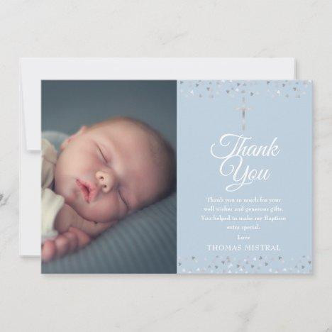 Elegant Blue Baptism Christening Hearts Photo Thank You Card