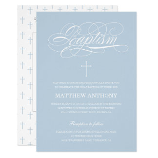 Elegant Blue Baptism Invitation | Christening