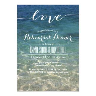 Elegant Blue Beach Script Love Rehearsal Dinner Card