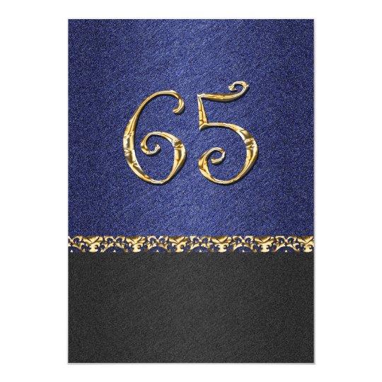 Elegant blue black 65th gold party card