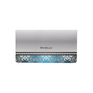 Elegant Blue, Black and Silver Lace Checkbook Cover