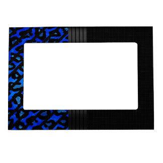 Elegant Blue Black Cheetah Magnetic Picture Frame
