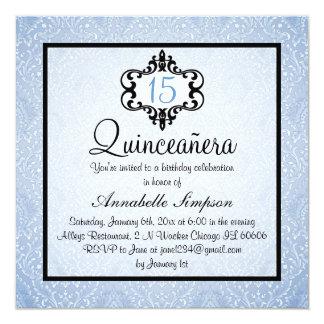 Elegant Blue/Black Chic Damask Quinceanera Invite