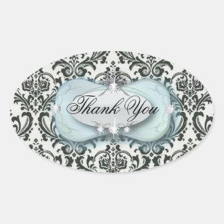 elegant blue black damask wedding stationery oval sticker