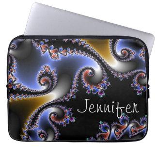 Elegant Blue Black Gold Swirl Name Fractal Laptop Sleeve