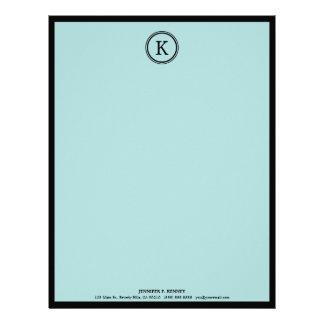 Elegant Blue & Black Monogram Letterhead