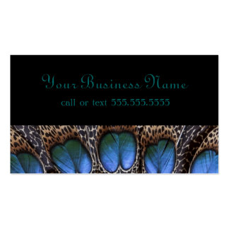 Elegant Blue Black Peacock Business Card Templates