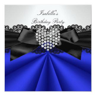 Elegant Blue Black White Diamond Birthday Party Card