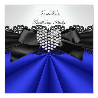 Elegant Blue Black White Diamond Birthday Party 5.25x5.25 Square Paper Invitation Card