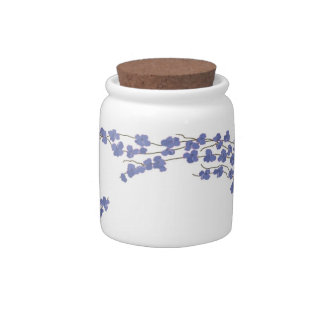 Elegant Blue Blossoms Candy Dish