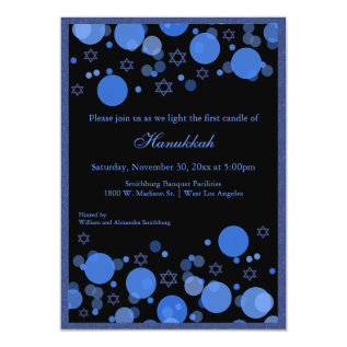 Elegant Blue Bokeh Lights Hanukkah Celebration Card at Zazzle