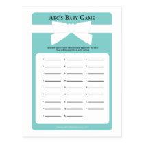 Elegant Blue Bow ABC's Baby Shower Game Postcard