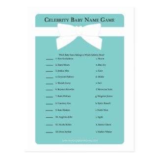 Elegant Blue Bow Celebrity Baby Name Shower Game Postcard