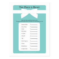 Elegant Blue Bow Price is Right Baby Shower Game Postcard