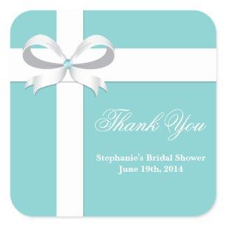 Elegant Blue Bridal Shower Favor Tag zazzle_sticker