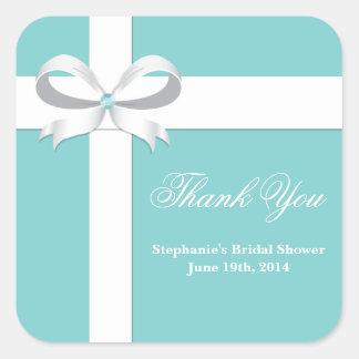 Elegant Blue Bridal Shower Favor Tag Square Sticker