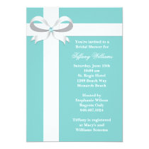 "Elegant Blue Bridal Shower Invitation 5"" X 7"" Invitation Card"