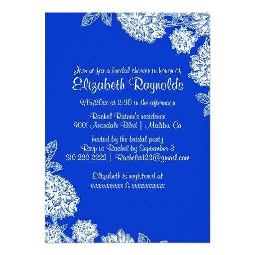 Elegant Blue Bridal Shower Invitations Custom Invitation
