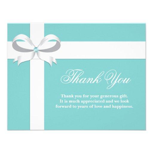 Thank You Wedding Shower Gift Wording : Elegant Blue Bridal Shower Thank You Card 4.25