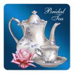"Elegant Blue Bridal Tea Party 5.25"" Square Invitation Card"