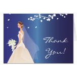 Elegant Blue Bride Thank You Note Card