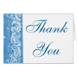 Elegant Blue Brocade border Thank you note card
