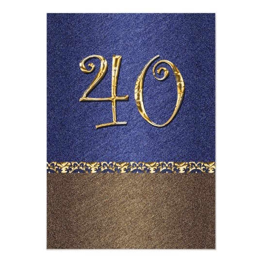 elegant blue brown 40th party card
