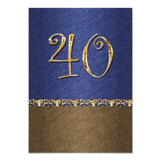 elegant blue brown 40th party 5x7 paper invitation card