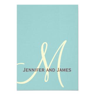 Elegant Blue Brown Monogram Wedding Invitation