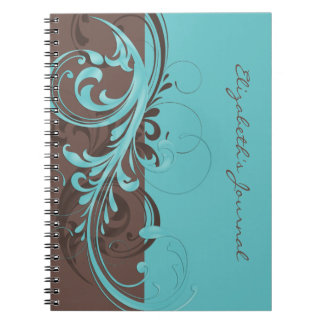 Elegant Blue Brown Personalized Journal Notebook