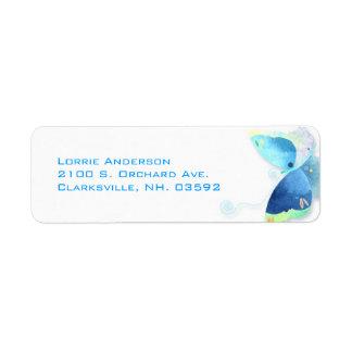 Elegant Blue Butterfly Return Address Labels