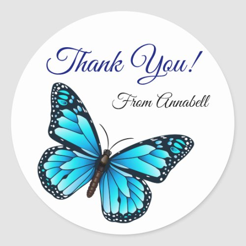 Elegant Blue Butterfly Thank You Classic Round Sticker