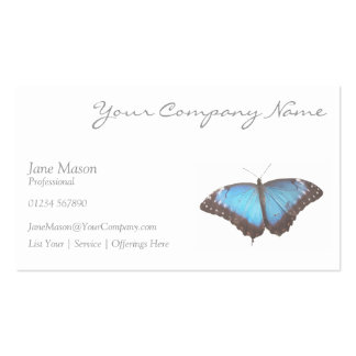 Elegant Blue Butterfly - White Business Card