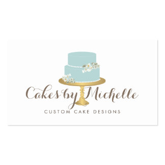 Elegant Blue Cake with Florals Cake Decorating Business Card