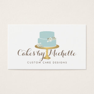 Cake decorating business cards templates zazzle elegant blue cake with florals cake decorating business card colourmoves