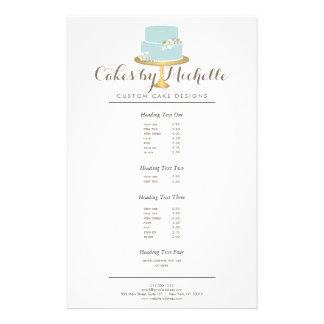 Elegant Blue Cake with Florals Cake Decorating Flyer