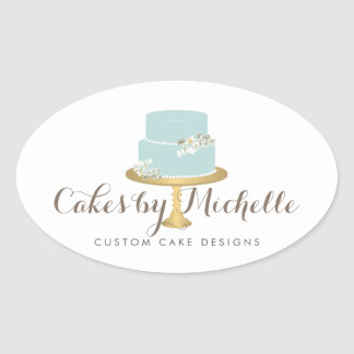 Elegant Blue Cake with Florals Cake Decorating Oval Sticker
