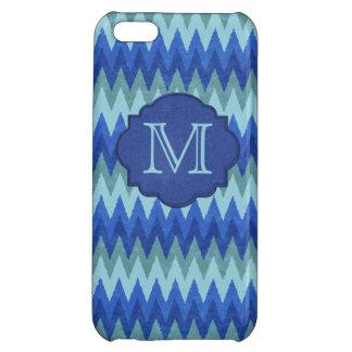 Elegant Blue Chevron Monogram Cover For iPhone 5C